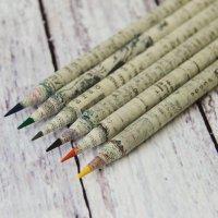 Бумажный карандаш из газеты, цветной грифель 6 шт