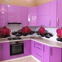 Кухня краска глянец , стеновая панель акриловая.