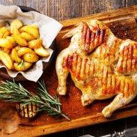 Цыпленок Табака с картофелем по-деревенски