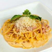 Спагетти карбонаре с  телятиной