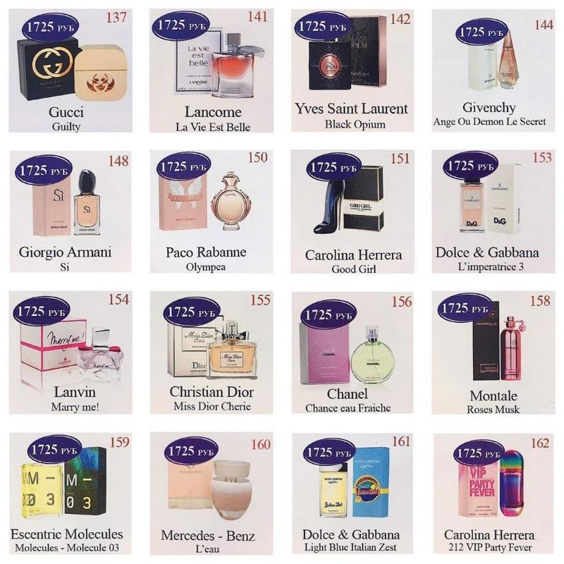 Изображения брендовых флаконов для более лёгкого выбора направления ароматов,