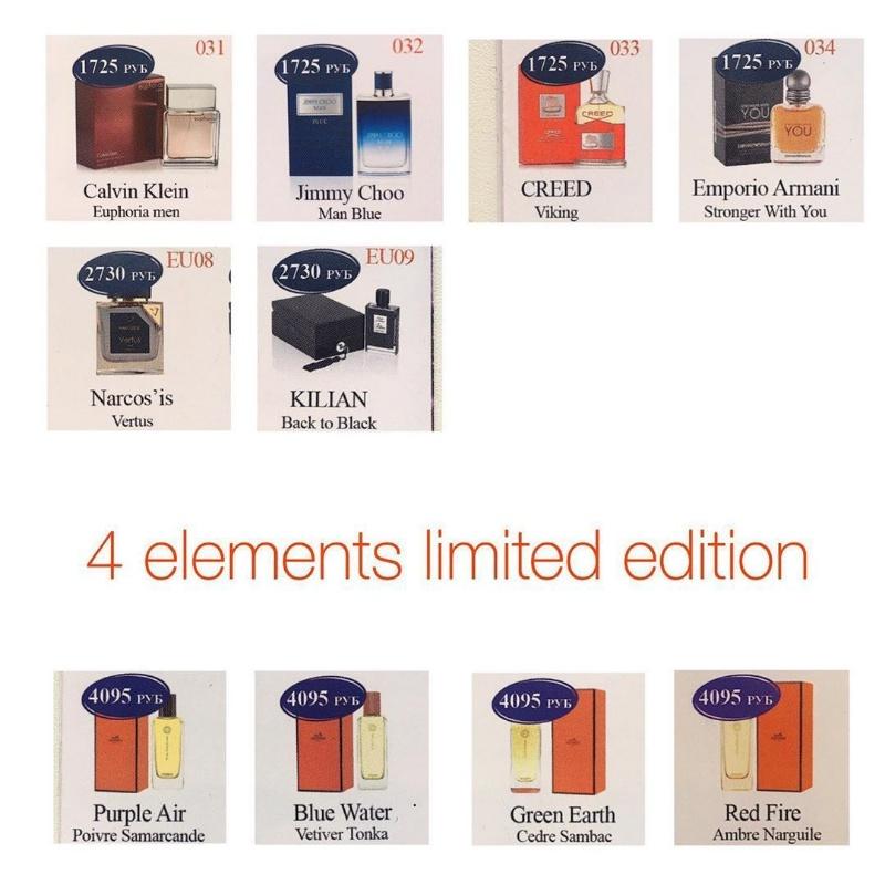 Изображение брендовых флаконов для более лёгкого выбора направления аромата,