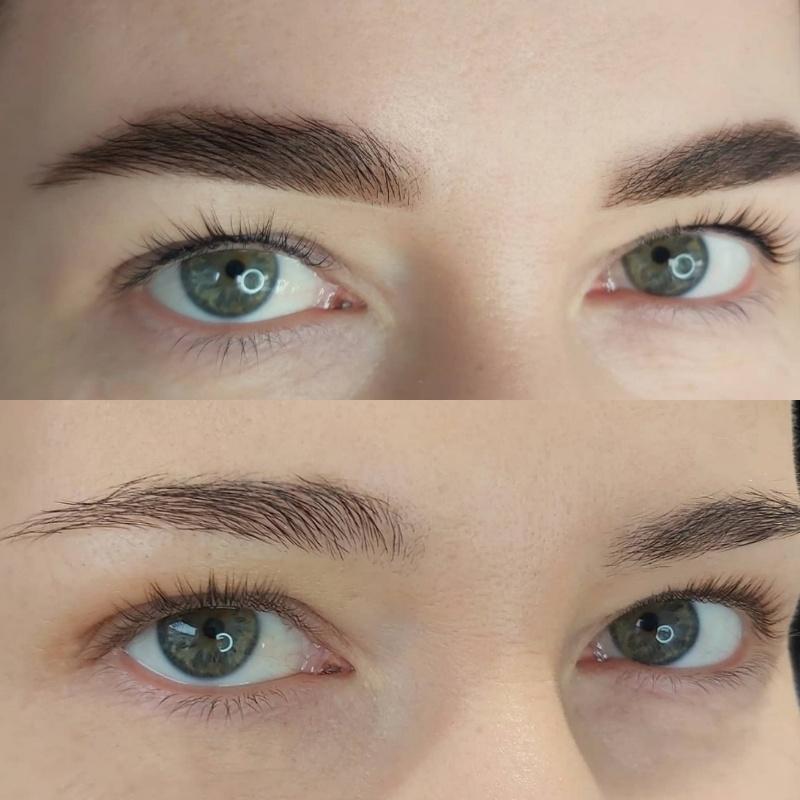 Окрашивание бровей хной в технике перманентного макияжа