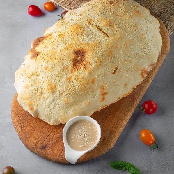 Наши новинки!Турецкая лепёшка с хумусом!